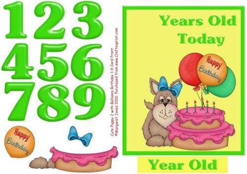 Lindo perrito 2 cumpleaños 1 - 9 años rápido Tarjeta con ...