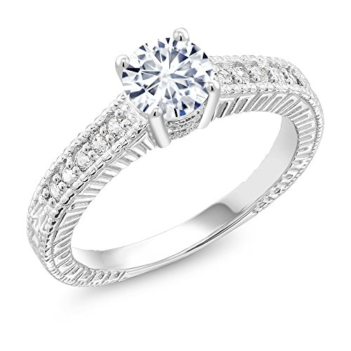 925 Sterling Silver Solitaire - 925 Sterling Silver Solitaire w/Accent Stones Ring Timeless Brilliant Round (IJK) 0.80ct (DEW) Created Moissanite