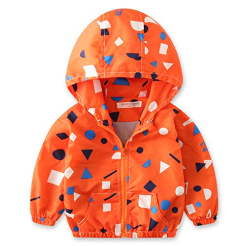 Children Hoodie Windbreaker Baby Autumn Jacket Outerwear Camouflage Pocket Zipper Coat (Orange Cheerleader Jacket)