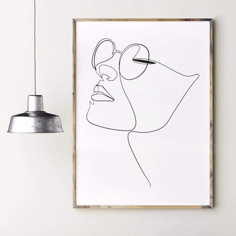 Amazon.com: Woman Face Figure One Line Drawing Wall Art Canvas Painting  Picture Abstract Art Face Print Minimalist Sketch Poster Home Decor 40X60cm  No Framed: Posters & Prints