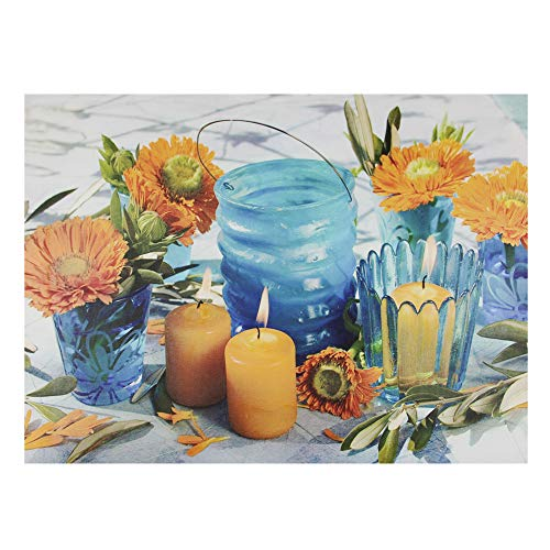 - Northlight LED Lighted Flickering and Flowers Glass Candles Canvas Wall Art, 12