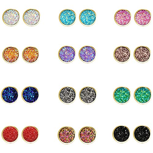 FiveLucky 12 Pairs Colors Druzy Stud Earrings Set Stainless Steel Crystal Round Earrings Gold for Women