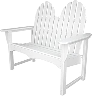 """product image for POLYWOOD ADBN-1WH Classic Adirondack 48"""" Bench, White"""