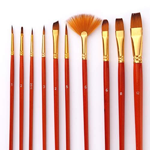 perfk 油彩筆 画筆 ナイロンヘア 美術 画材 水彩画 初心者 素晴らしい手触り 10個/セツトの商品画像