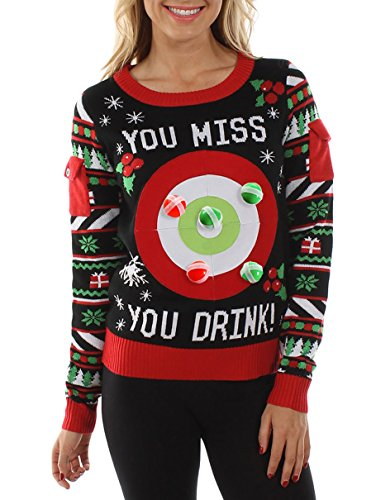 Tipsy Elves Women's Drinking Game Ugly Christmas Sweater: Medium -