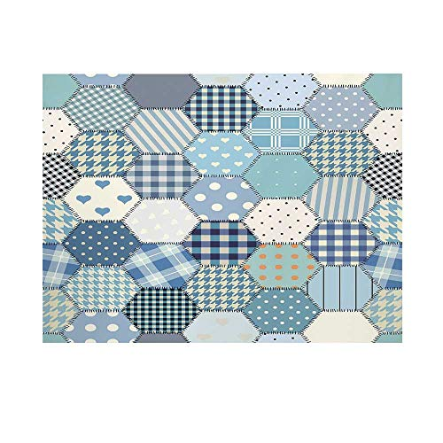 (Cabin Decor Photography Background,Blue Toned Patchwork Hexagons Stitched Seem Quilt Pattern Retro Tile Decorative Backdrop for Studio,8x7ft)