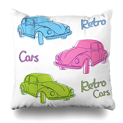 (Ahawoso Throw Pillow Cover Antique Blue Bug Retro Car Cute Simple Old Engine Beetle Red Vintage Auto Automobile Design Wheel Home Decor Pillowcase Square Size 20 x 20 Inches Zippered Cushion Case)