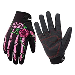 Winter Windproof Waterproof Touch Screen Glove Skull Zombie Bone Design Cycling Climbing Motorcycles Cycling Gardening Gloves Men & Women (Pink, L)