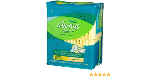 Amazon.com: Always Clean Ultra Thin Regular Pads with Wing-Unscented-32 ct: Health & Personal Care