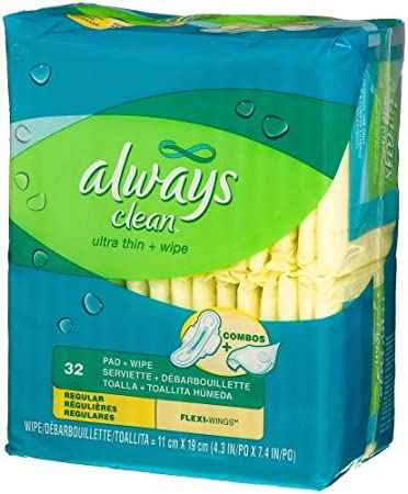 Always Clean Ultra Thin Regular Pads with Wing-Unscented-32 ct