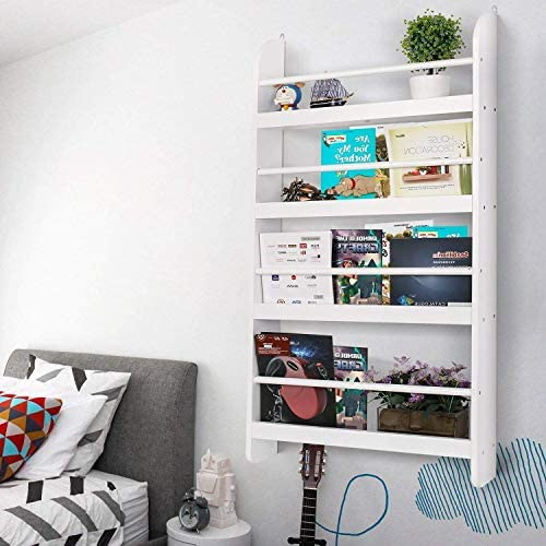 Homfa Bücherregal Wandregal Kinderregal Hängeregal Wandablage Aufbewahrungsregal Regal mit 4 Ablagen weiß 59x12x113cm