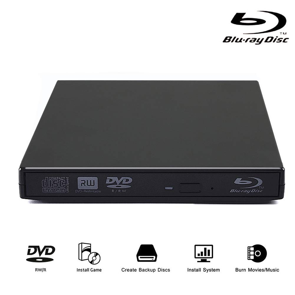 External Blu Ray Drive USB 2.0 Blu Ray Player CD DVD RAM Burner Combo High Speed Re-Writer for Laptop Notebook PC Desktop Computer (Black) by Lvaen