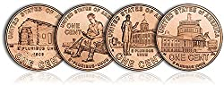 Now Shipping! Get your HOT...HOT...HOT P&D sets of newly designed 2009 Lincoln Cents! Receive 1 P and D Single coin set of all 4 Different Commemorative Lincoln Cents. In Stock All coins are Gem Brilliant Uncirculated. 4 coins are from the Denver...