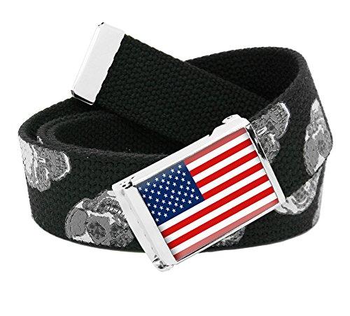 Skull Web Belt - American Flag Flip Top Men's Belt Buckle with Canvas Web Belt Medium Skulls Print