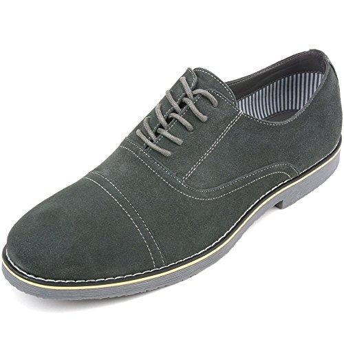 Alpestre Suizo Aston Hombres Lace Up Oxfords Genuine Suede Cap Toe Formal Vestido Zapatos Gris
