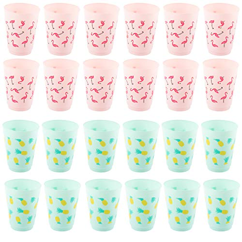 Plastic Party Cups - 24-Pack Reusable Tumblers, 16-Ounce Plastic Cups, Tropical Themed Party Supplies for Bridal Showers, Birthdays, Flamingo and Pineapple Designs, 3.5 x 4.4 x 3.5 inches