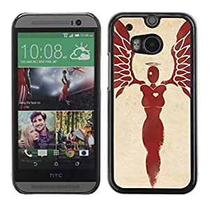 Shell-Star Arte & diseño plástico duro Fundas Cover Cubre Hard Case Cover para HTC One M8 ( Heart Woman Angel Blood Red Wings )