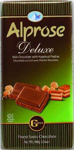 Alprose Deluxe Milk Chocolate with Hazelnut Praline 3.5 Oz / 100 G (Pack of 5) (Best Dark Chocolate In Switzerland)