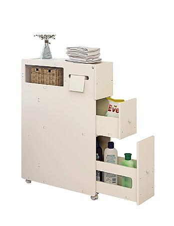 Purki Badezimmer-Schließfach-Speicher-Kabinett, Toiletten-schmales Regal,  wasserdichtes Gestell, Boden-genähter Kabinett, weiß groß, klein wahlweise  ...