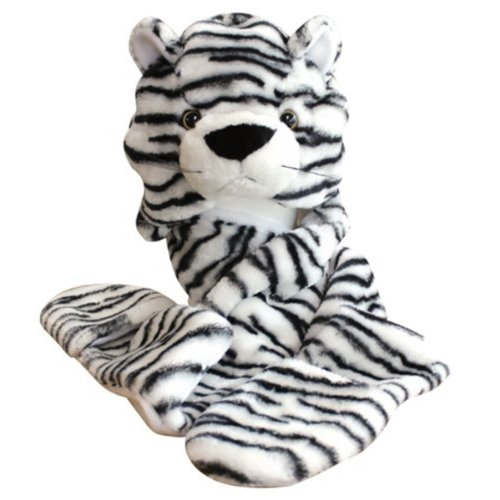 [Tytroy Zoo Animal Winter Plush Fleece Hat with Mittens Warm Winter Hoodie Beanie (White Tiger)] (White Tiger Costumes)
