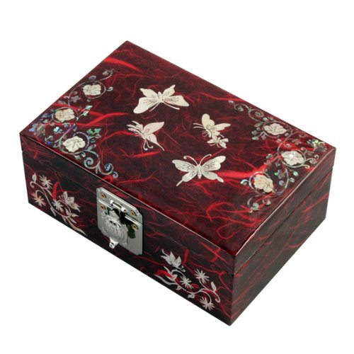 Mother of Pearl Butterfly Flower Design Lacquered Wooden Red Mirrored Jewelry Trinket Keepsake Treasure Gift Box Case Chest Organizer