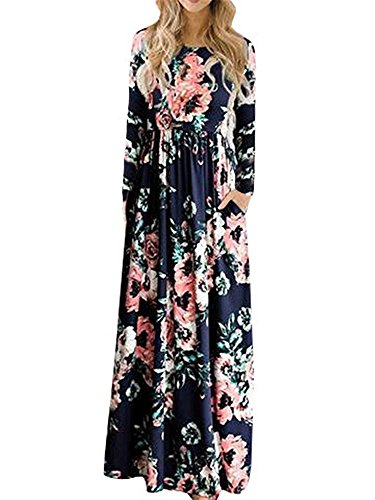 Faaaashion Womens Maxi Dresses Long Sleeve Floral Fall Formal Wedding Casual Dress Party Gown