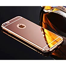 Sunroyal for iPhone 6 6S 4.7 inch Premium Glass Mirror Metal Case Cover - Aluminum Frame Hard PC Back Bumper Case Metal Aluminum Protection Chrome Cover Ultra Slim Mobile Phone Case Luxury Glitter Bling Shiny ultra Thin Case ,Rose Gold