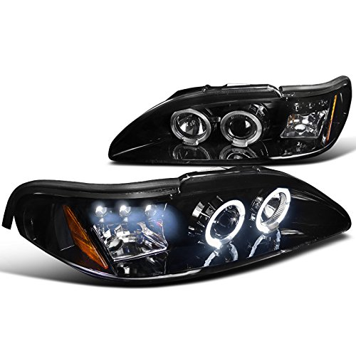 Spec-D Tuning 2LHP-MST94G-TM Ford Mustang Dual Halo Led Glossy Black Projector Headlights