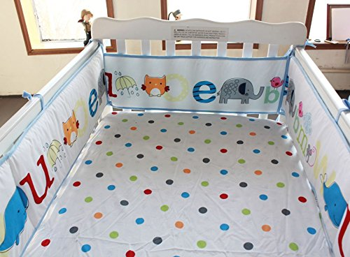 NAUGHTYBOSS Unisex Baby Bedding Set Cotton Early Education 3D Embroidery Letter Elephant Quilt Bumper Mattress Cover Blanket 8 Pieces Multicolor by NAUGHTYBOSS (Image #7)