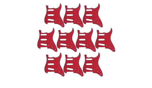 10pcs alta calidad rojo 3 capas 11 hoyos golpeador guitarra para Fender Strat estilo de repuesto: Amazon.es: Instrumentos musicales