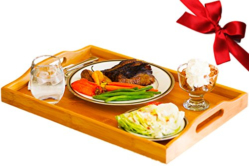 Butler Tray (Extra Large Super Sturdy Bamboo Serving and Butler Tray with Handles- Ideal For 3-Course Meals- Wine Glasses, Plates, Bowls, Pitchers, Tea or Coffee- Wooden Tray Food Server Gift-19.6 x 13.7 x 2.3in)