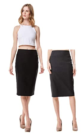 ce6ea8c603 MoDDeals Women's High Waisted Knee Length Stretch Bodycon Pencil Skirt 2  Pack (Small, Black