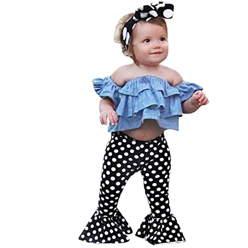 FEITONG 2018 Toddler Kids Baby Girls Outfits Off Shoulder Denim Tops+Polka Dot Flares Pants Clothes Set (Blue, 3-4Y)