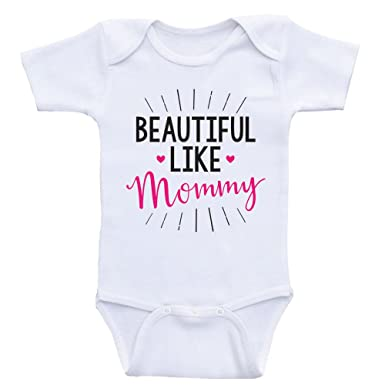 3b685cb74 Amazon.com: Heart Co Designs Cute Baby Girl Clothes Beautiful Like Mommy Cute  Onesies for Baby Girls: Clothing