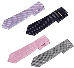 Bundle Monster 8pc Luxury Mens Gold and Silver Finish Necktie Tie Bar Clip Mix Set