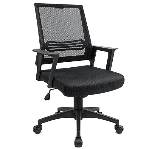 Devoko Mid Back Mesh Desk Chair Height Adjustable with Armrest Swivel Office Chair Lumbar Support Computer Chair (Black) by Devoko