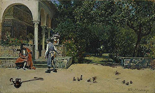 'Madrazo Y Garreta Raimundo De The Pavilion Of Carlos V In The Gardens Of The Alcazar Of Seville 1868 ' Oil Painting, 8 X 13 Inch / 20 X 34 (Amber Rose Halloween Costumes)