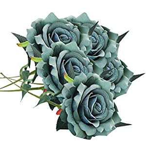 ZTTONE Flowers,5 Pcs Artificial Silk Fake Flowers Rose Flower Wedding Bouquet Party Home Decor (C) 72