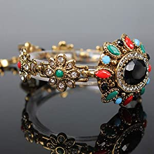 display08 Lady Vintage Bohemia Chain Bracelet Colorful Resin Rhinestone Gold Plated Bangle Hand Wrist Wristband Party…