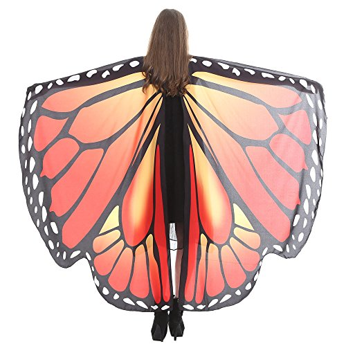 vermers Women Butterfly Wings Shawl Scarves Ladies Nymph Pixie Poncho Costume Accessory Shawl(Orange2)