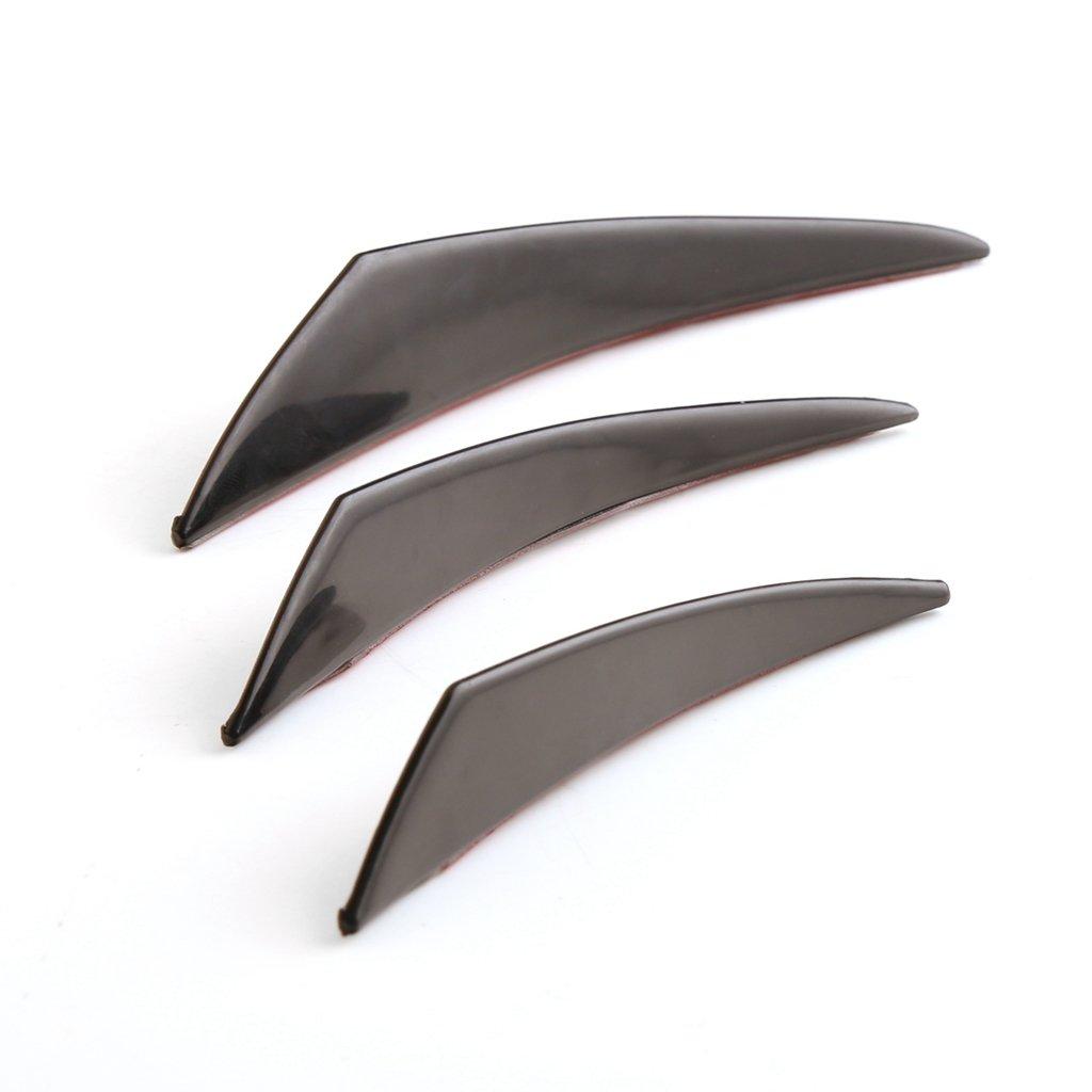 MagiDeal 6 Pieces Universal Front Bumper Protective Lip Splitter Fins Spoilers Set as described Black