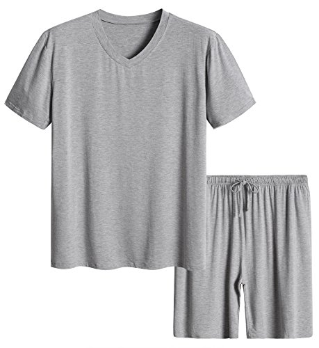 Latuza Men's Short Sleeves and Shorts Pajama Set M Light Gray by Latuza