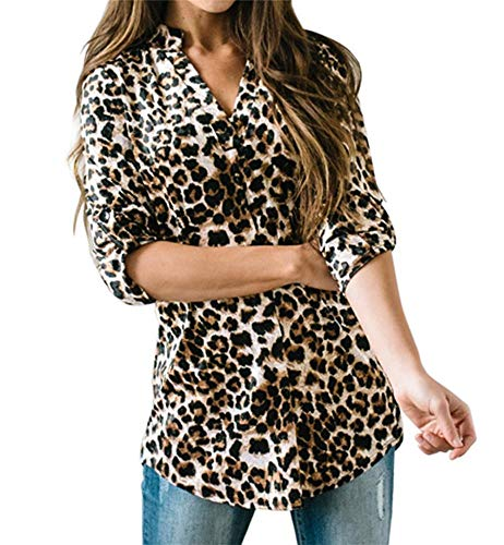 Ofenbuy Womens Plaid Leopard Blouse V Neck Roll-Up 3/4 Sleeve Cotton Casual Tunic Shirts Tops