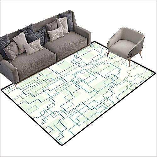 (Indoor Super Absorbs Doormat Geometric,Futuristic Design Like a Subway Line with All Routes in Town Pattern,Mint Green Royal Blue 60