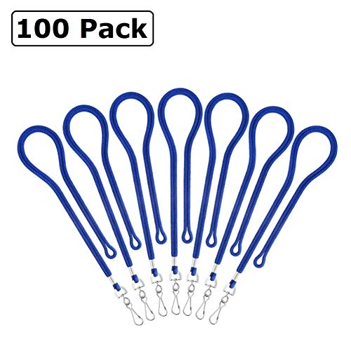 Bulk Lanyards for ID Name Badge Holder, ID Cards, Keys, Employees, Students, Visitor, etc by ZHEGUI (100 Pack, Royal Blue)
