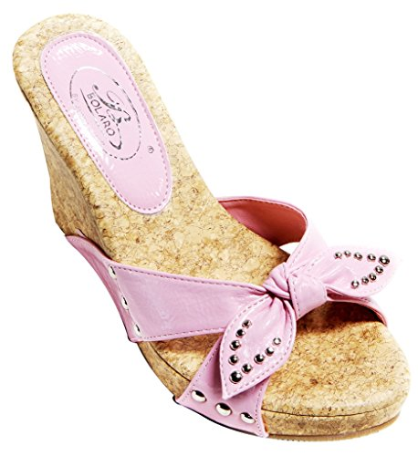 Bolaro 92293 Womens open toe stud decor bow knot upper cork wedge patent slippers Pink