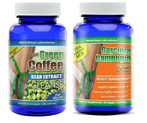 Чистый зеленый Coffee Bean Extract Cleanse & Pure гарцинии камбоджийской 75% HCA 1 бутылку каждого