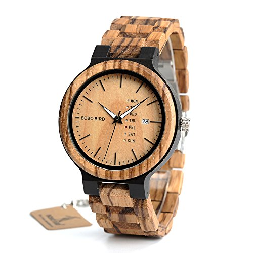 Men's Wooden Watch, Analog Quartz Zebra Sandalwood Handmade Vintage Casual Bamboo Wrist Watch