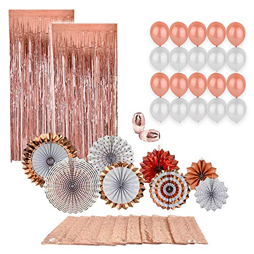- Fancy Rose Gold Party Decorations Big 33 Piece Set - Stylish 8pc Origami Fan Set, Long Sequin Table Runner, 10 RG Latex Balloons, 10 White Balloons, 2 Metallic Tinsel Fringe Curtains, 2 Shiny Ribbons