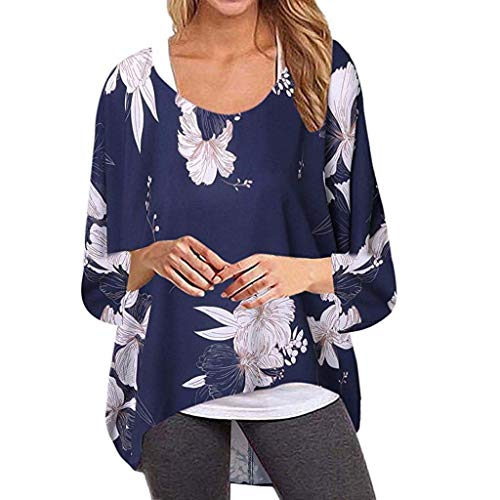 Women's Batwing Sleeve Off Shoulder Loose Oversized Baggy Tops Sweater Pullover Casual Blouse T-Shirt Blue ()
